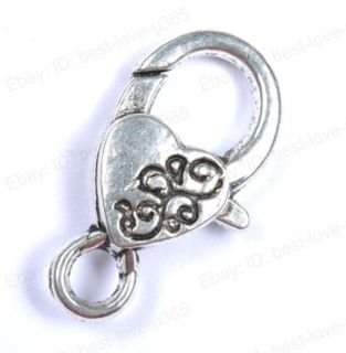 Free SHIP 10 40pcs Tibetan Silver Charms Heart Lobster Clasps Types U
