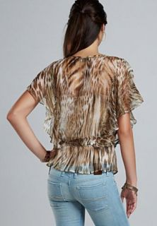 Lucky Brand Jeans Blouse VERONIQUE Chiffon Sheer Top Animal Print Sz S
