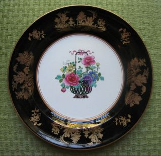 Booths Booths 10 Plates Black Gold Rose Flowers Willow Asian Oriental