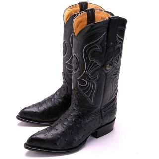 Los Altos Mens Black Ostrich Western Cowboy Boots New