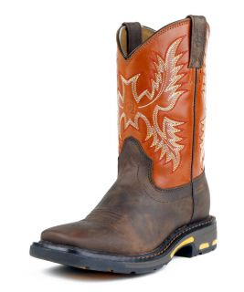 Ariat Work Boots Boys Workhog Kids Western Dark Earth 10007837