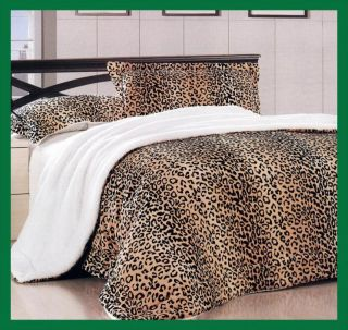 Leopard Soft Coral Fleece Borrego Blanket Bedspread Brown Black