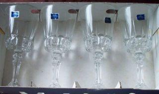 Vintage Set of 4 Lady Victoria Fine Crystal Stemware Wine Glasses