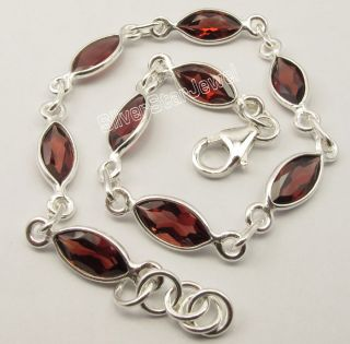 925 Sterling Silver Red Garnet Facetted Marquise Gems Beautiful
