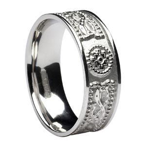 Sterling Silver Celtic Warrior Shield Wedding Ring Comfort Fit Irish