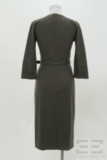 Boss Hugo Boss Charcoal Gray Wool Belted Dress Size US 4