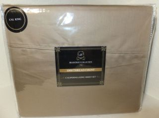 1000 TC Sheet Set Solid Taupe Cotton Poly by Bradstreet Collection NIP