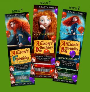 Brave Merida Birthday Party Invitation Ticket Card Custom Invites 1st