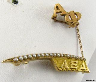 Alpha XI Delta 14k Gold Pearl C 1910s Quill Badge Pin