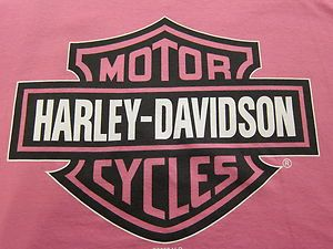 Pink Harley Davidson T Shirt Bar Shield Size L Bossier City La