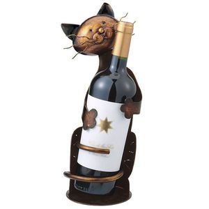 Whimsical Cat Metal Wine Bottle Holder Bar Table Home Decor Kitchen