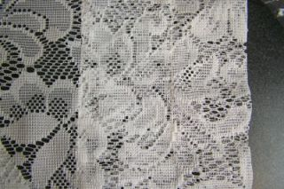 Pair of Winter White Lace Floral Pattern Window Curtain Panels
