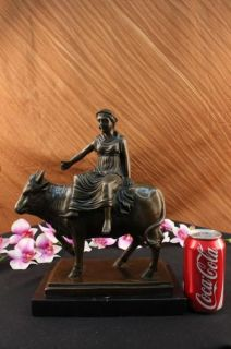 Abstract Botero Young Woman Rides A Bull Bronze Marble Sculpture