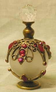 Frosted Glass 27 Red Jewel Perfume Bottle Gold