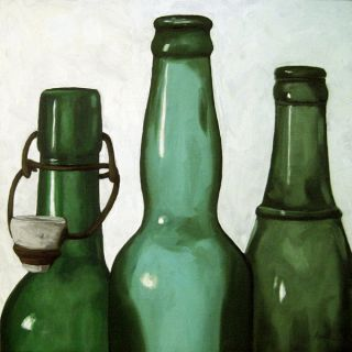 Vintage Green Bottles Still Life Art Original Oil Painting by L Apple