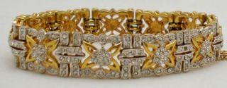 Jacqueline Bouvier Kennedy JBK Gold Tone Bracelet with Crystal