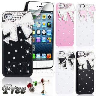 5g Luxury Bling Bling 3D Crystal Diamond Bow Hard Case Cover