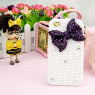 Bow Pearl Crystal Bling Handmade Case Cover Skin for Apple iPhone 4 4S