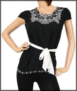 New Black and White Cap Sleeve Bouse Shirt Top Size Small S NWT
