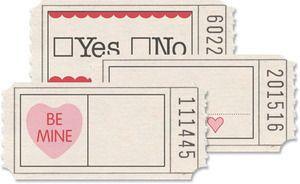 Jenni Bowlin PRINTED TICKETS VALENTINES Valentine Ticket Love