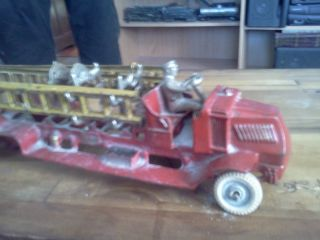 ANTIQUE 1929 ARCADE TOYS MACK TRUCK FIRE ENGINE LADDER TRUCK ALL