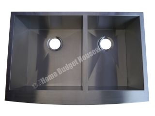 33 Stainless Steel Kitchen Sink Double Bowl Apron Farmhouse with Free