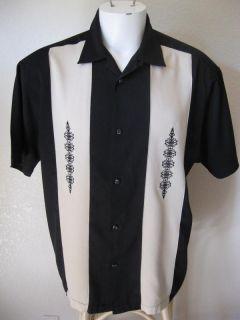 Roll Rebel L Black Tan Embroidered 2Tone Panel Bowling Shirt