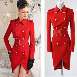 Red Double Breasted Tulip Fitted Trench Coat Lady Long Sleeve