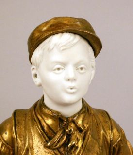 Antique French Bronze & Porcelain Boy Sculpture Figurine, 19th C