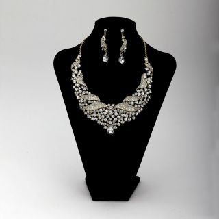 Rhinestones Crystal Bib Wedding Bridal Jewelry Necklace Earrings Set