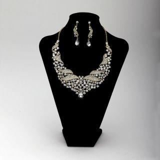 Rhinestones Crystal Bib Wedding Bridal Jewelry Necklace Earrings Set