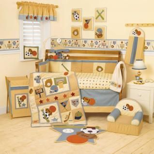 Sports Baby Boy Crib Bedding Set   Basketball Baseball Football Hockey