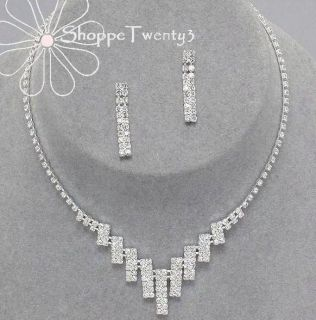 Tennis Necklace Set Classic Silver Crystal Bridal Bridesmaid Jewelry