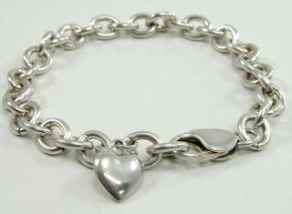 925 Sterling Silver Rolo Chain Bracelet Heart Charm Oval Link 8