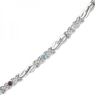 Personalized Mothers Name Silvertone Birthstone Hugs & Kisses Bracelet