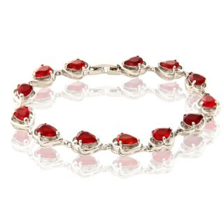 PEAR CUT RED RUBY WHITE GOLD GP TENNIS BEAD BRACELET CHAIN 1045RED