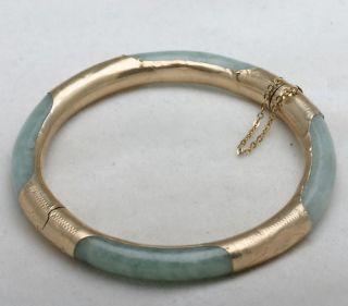 Estate 14k Yellow Gold Jade Bangle Bracelet Engraved