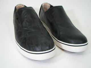 UGG Bracken Sneaker 3110 Mens Sz 9 Oiled Waxed Black Leather Slip on $