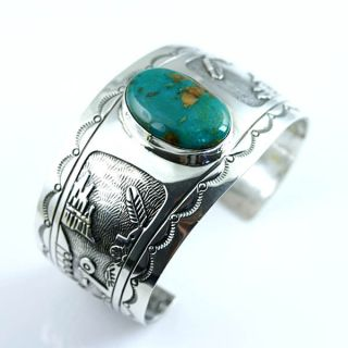 Native American Jewelry Kingman Turquoise Cuff Bracelet Charlie Bowie
