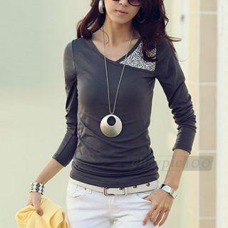 Neck Long Sleeve Slim Leopard Stitching T shirt Tee Tops Women M L