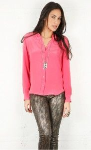 New Equipment Brett Washed Silk Blouse Shirt Hot Pink XS s M $198