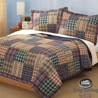 Teen Brown Plaid Patchwork Cotton Quilt Bedding Set Twin Size