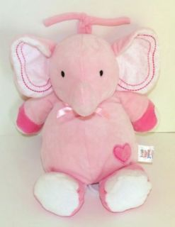 Carters Just One Year Pink Elephant Heart Musical Crib Pull Toy Brahms