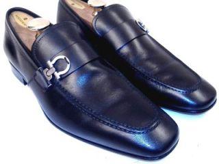 620 Salvatore Ferragamo Mens Bramante Black Dress Shoes Gancini Bit