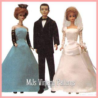 Vintage Wedding Clothes Doll Pattern Barbie Ken