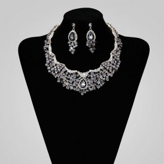 Rhinestone Crystal Bridal Wedding Choker Necklace Jewelry Set Grey