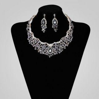 Rhinestone Crystal Bridal Wedding Choker Necklace Jewelry Set Grey