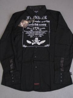 Fender LS Custom Shop Black Skull Shirt Button Up Guitar Mens Long
