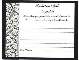 Damask Bridal Shower Wedding Advice Cards