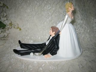 Humorous Wedding Golfer Golf Bride Groom Cake Topper